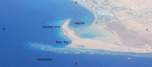 Карта волн в Дахабе - Береговой рельеф