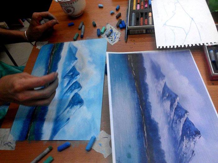 Как я научилась всего за 1,5 часа рисовать сухой пастелью